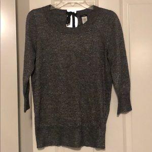 JCrew silver tie back sweater